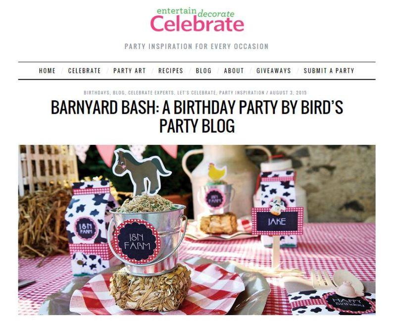 Barnyard Birthday Party Ideas with Celebrate Magazine - BirdsParty.com