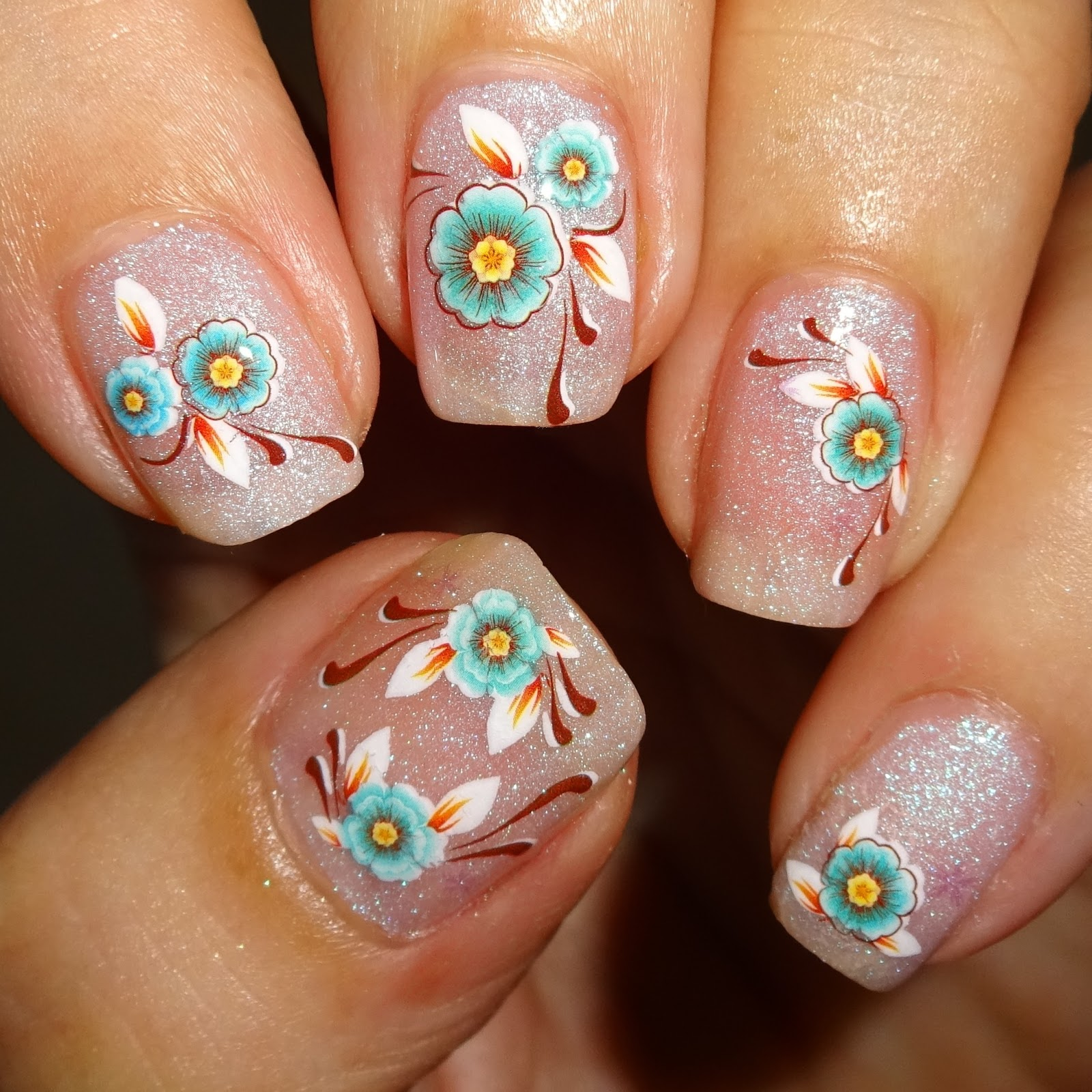 Wendy S Delights Turquoise Flower Water Decals From Nail Art Uk