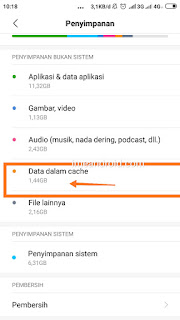 Menghapus data cache xiaomi