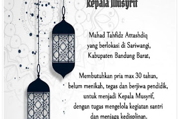 Lowongan Kerja Musyrif At Tashdiq Indonesia