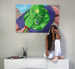 Una joven artista pinta cuadros de Dragon Ball increíbles