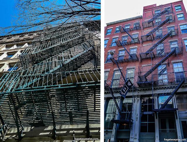 escadas de incêndio dos prédios antigos de Nova York