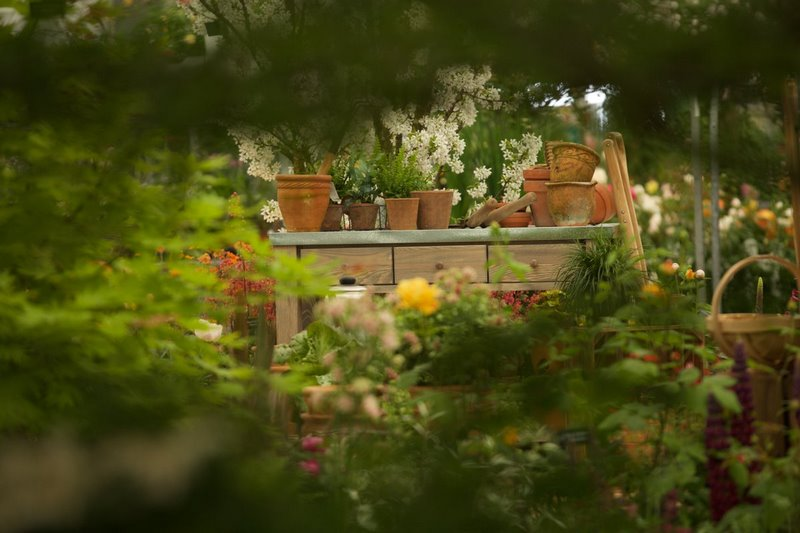 mesa de cultivo de madera y macetas de terracota en el jardin