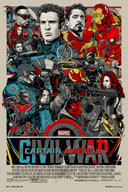 Captain America Civil War Regular Edition Screen Print by Tyler Stout x Mondo x Marvel