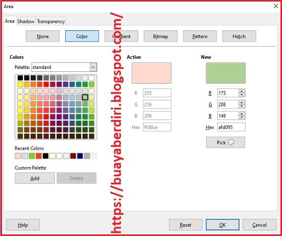 Cara mengubah warna pada objek shape di slide libre office impress