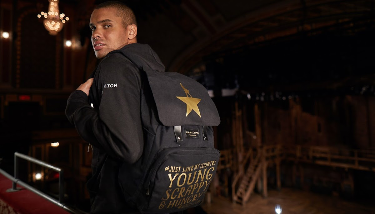 model with the Hamilton jacket and backpack