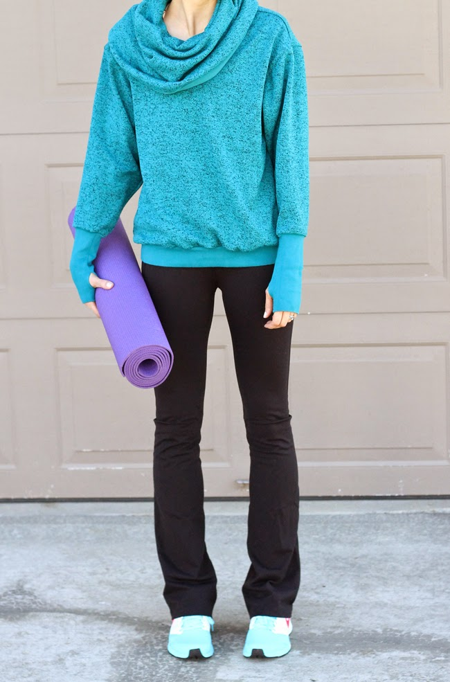 Teal yoga top, Cozy Orange yoga pants