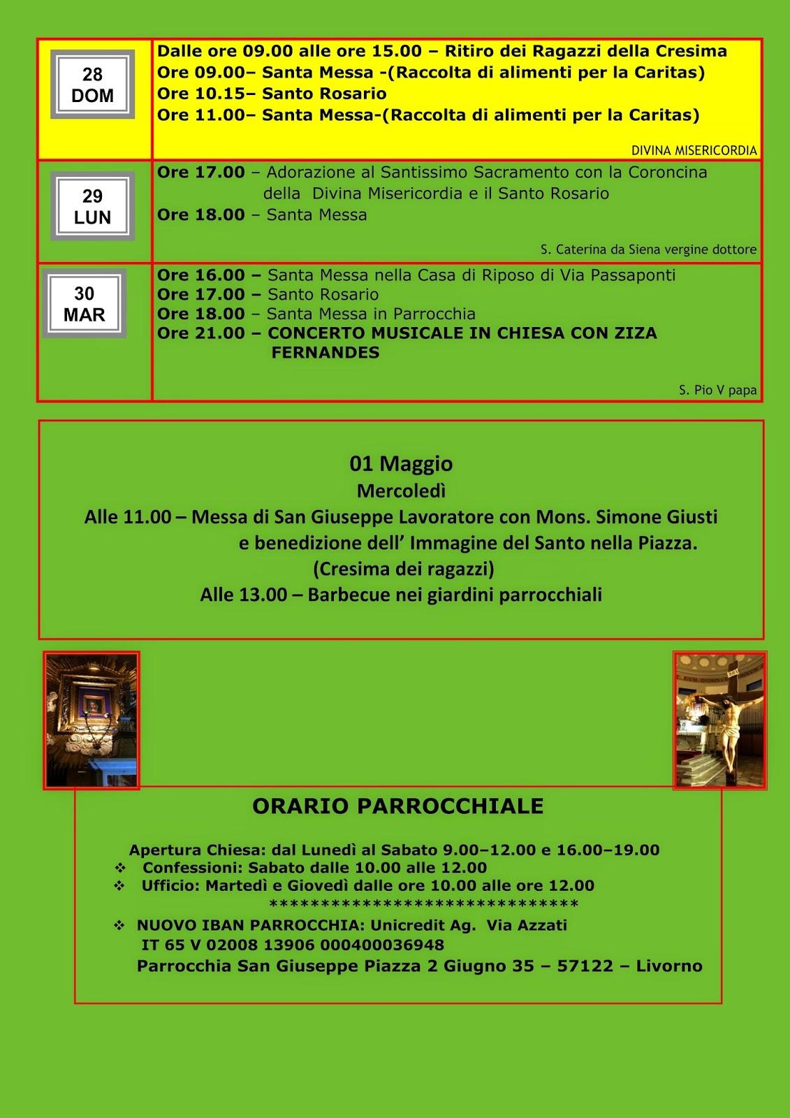 San Simone Calendario.Parrocchia San Giuseppe Livorno Calendario Aprile 2019