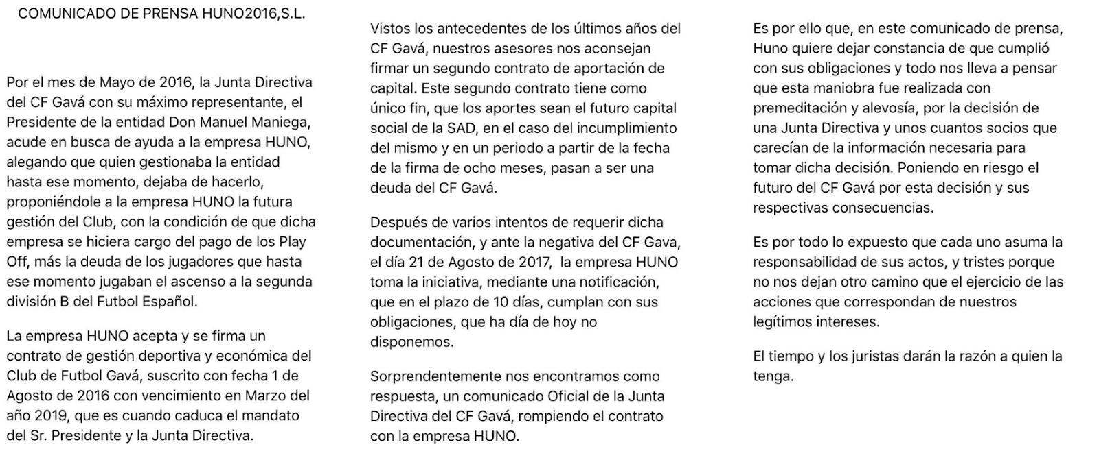 Club Futbol Gavà: Comunicado de Huno 2016, S.L.