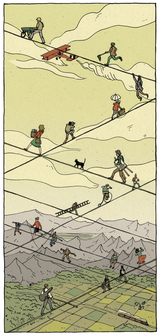 11-Tightrope-Walk-Nicolás-Castell-Illustrations-that-are-Snapshots-of-the-story-they-are-Telling-www-designstack-co
