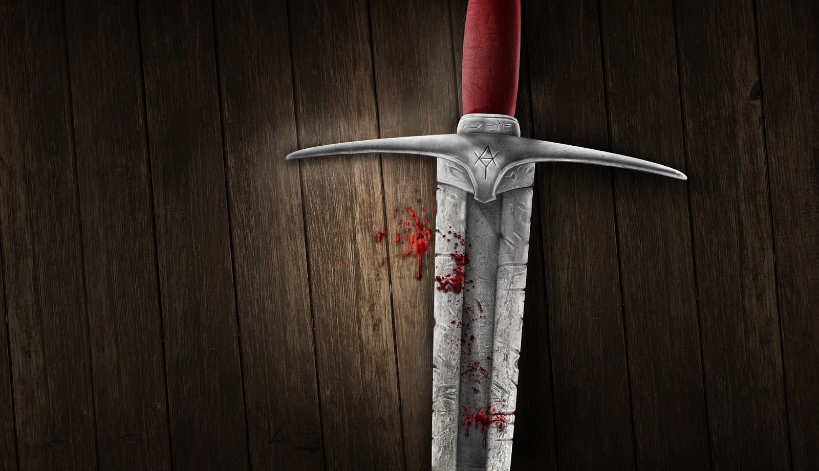 a large sword covered in blood lays in front of a wood wall to illustrate a blog post about bloody british battles
