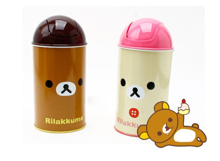 Rilakkuma Mini Trash Can Cute Small Waste Basket Interior