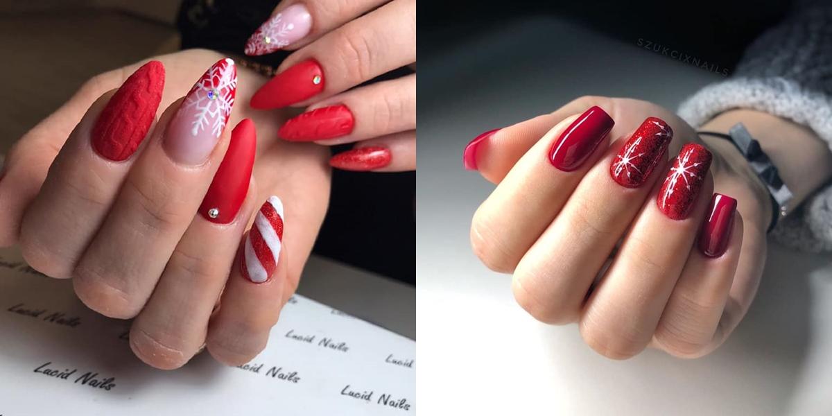świąteczne paznokcie hybrydowe