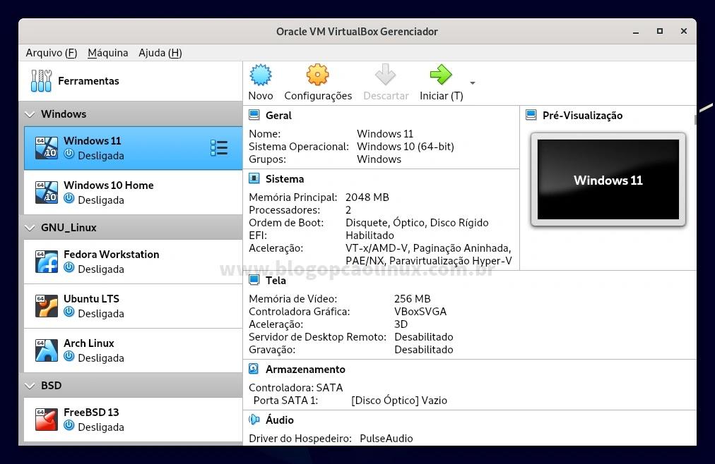Oracle VM VirtualBox executando no Debian 11 Bullseye