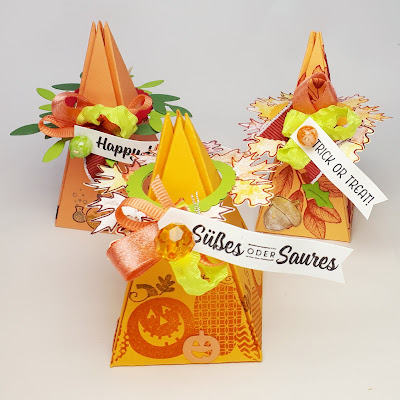 Halloween Giveways Pyramidenbox mit Blättern und Kürbissen Stampin' Up! www.eris-kreativwerkstatt.blogspot.de