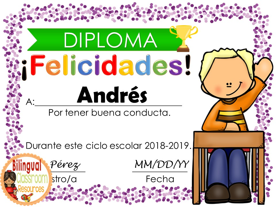 End of the year Editable Awards In Spanish-Distance Learning