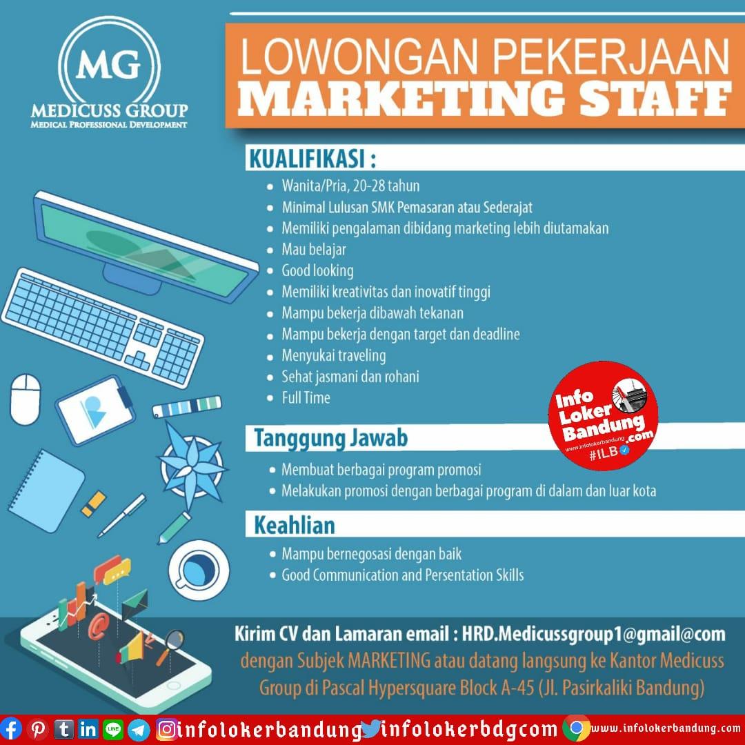 Lowongan Kerja Marketing Staff Medicuss Group Bandung Juli 2020