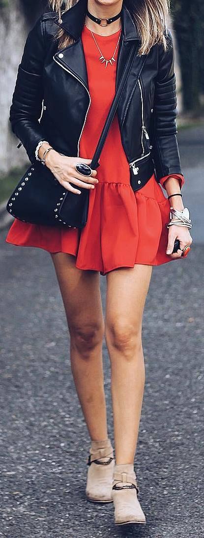 street style outfit idea: moto jacket + red dress