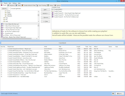 Main Music Scheduling window with a created playlist