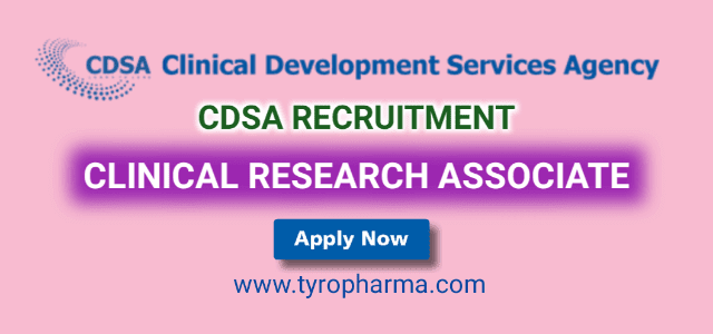 CDSA Recruitment – Clinical Research Associate job in Clinical Development Services Agency