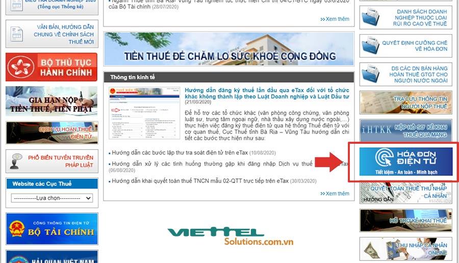 Hình 1 - Chuyện mục Hóa đơn điện tử trên website của Cục Thuế tỉnh Bà Rịa - Vũng Tàu
