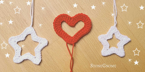 Crocheted star and heart