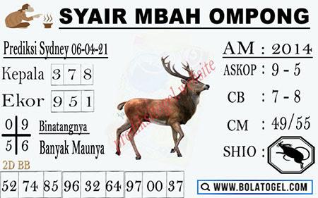 Syair Mbah Ompong Sydney Selasa 06-Apr-2021