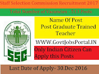 Staff Selection Commission Recruitment for 500+ Graduate Trained Teacher 2016