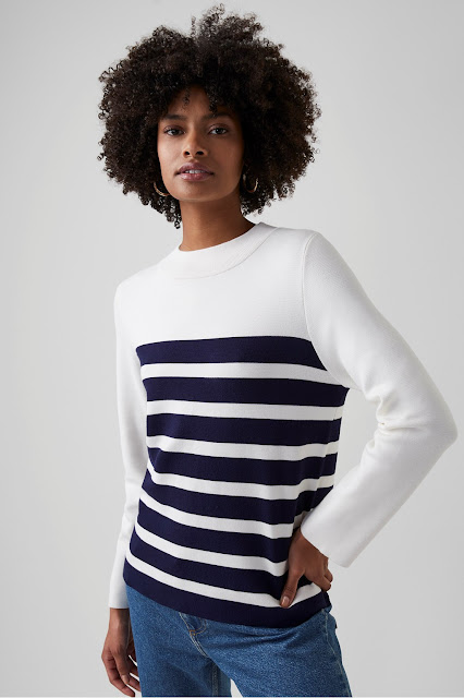 my midlife fashion, Great Plains Cordell knit striped jumper