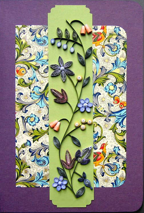 graduated color quilled flowers on detachable bookmark card