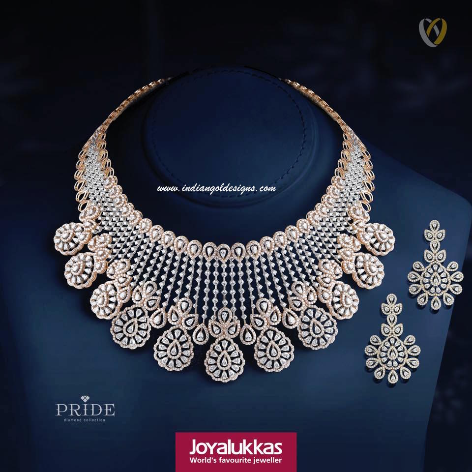 Gold and diamond jewellery designs joy alukkas diamond necklace set checkout 18k gold bridal diamond necklace paired with matching earrings jewellery joyalukkas mozeypictures Images