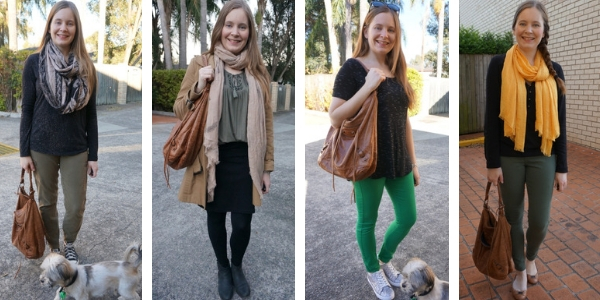 4 ways to wear Balenciaga brown day bags with green outfits different shades | away from the blue