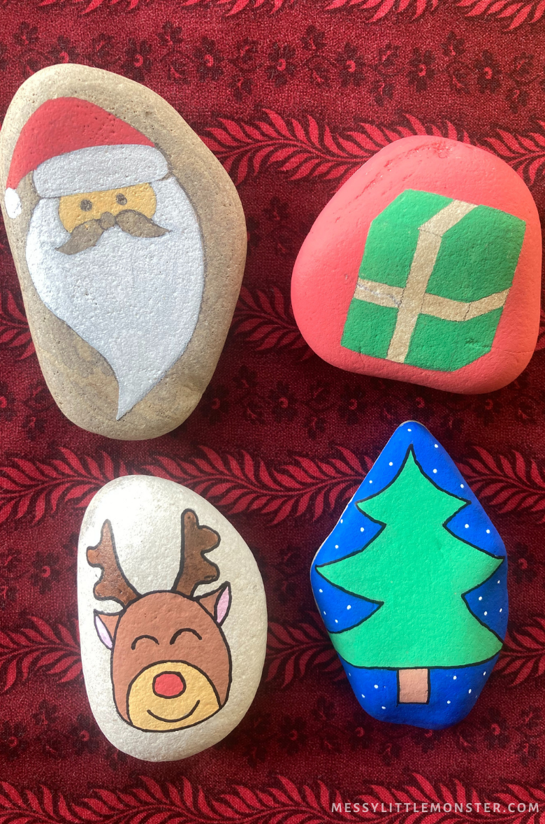 Christmas rock painting craft