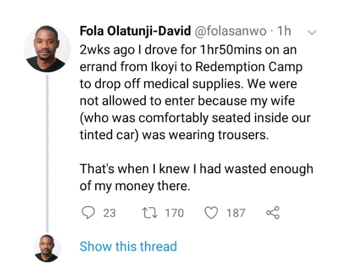 "Ex Google staff narrates an encounter at Redemption Camp that made him decide he has ""wasted enough of his money there"""
