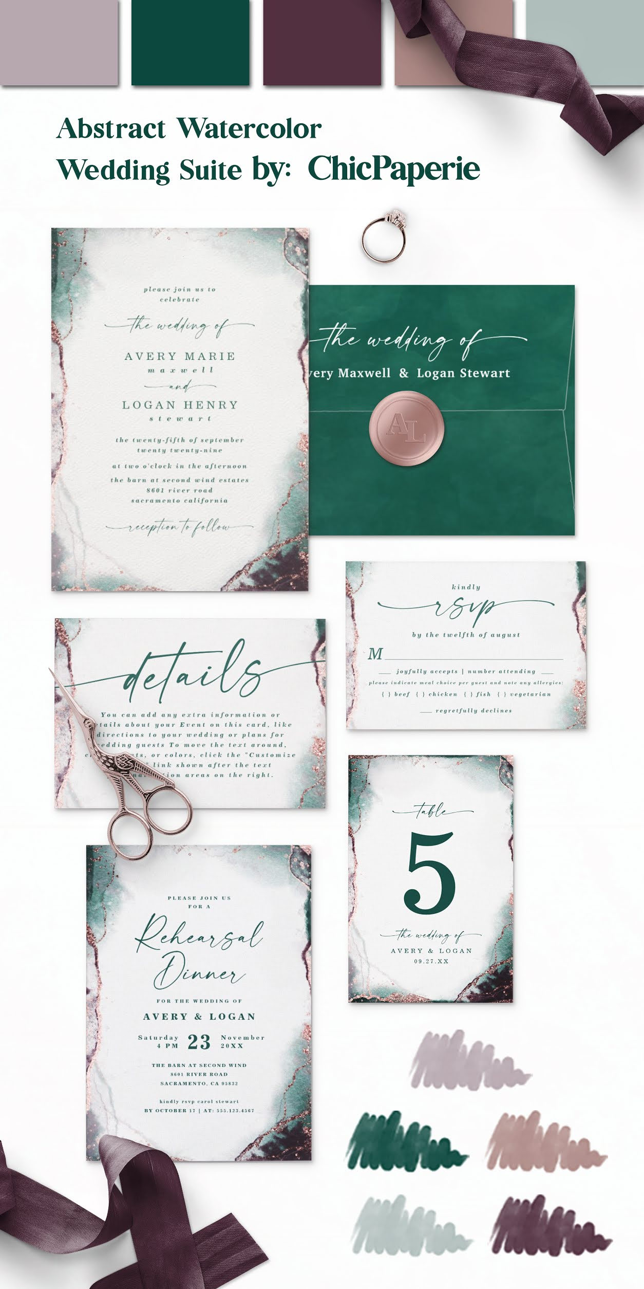 Abstract Watercolor Wedding Invitation Suite in the Emerald Green Colorway: Wedding Invitations, Color Editable Envelopes, Rose Gold Wax Seal Stickers, Details cards, RSVP Meal Choice Cards, Rehearsal Dinner Invites, and Table Number Cards
