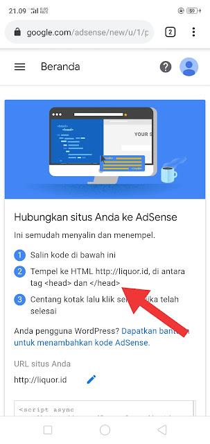 Letakkan Kode Adsense