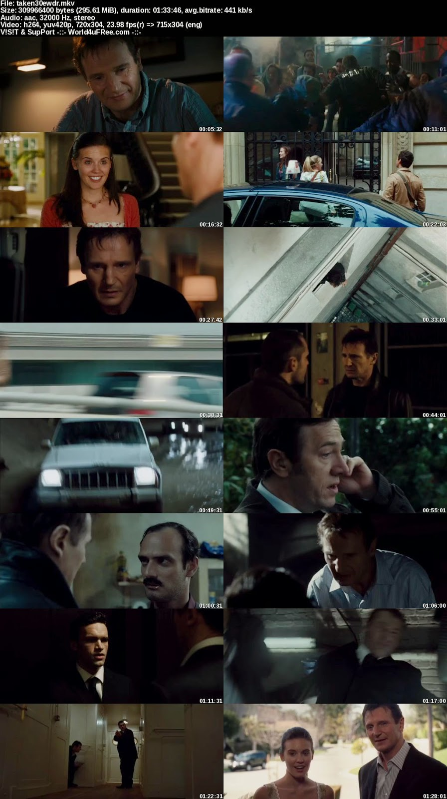Taken 2008 BluRay 480p 300mb ESub