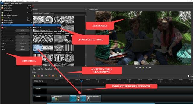 aggiungere 400 transizioni ai video con openshot