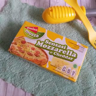 review keju emina mozza, keju mozzarella dan cheddar