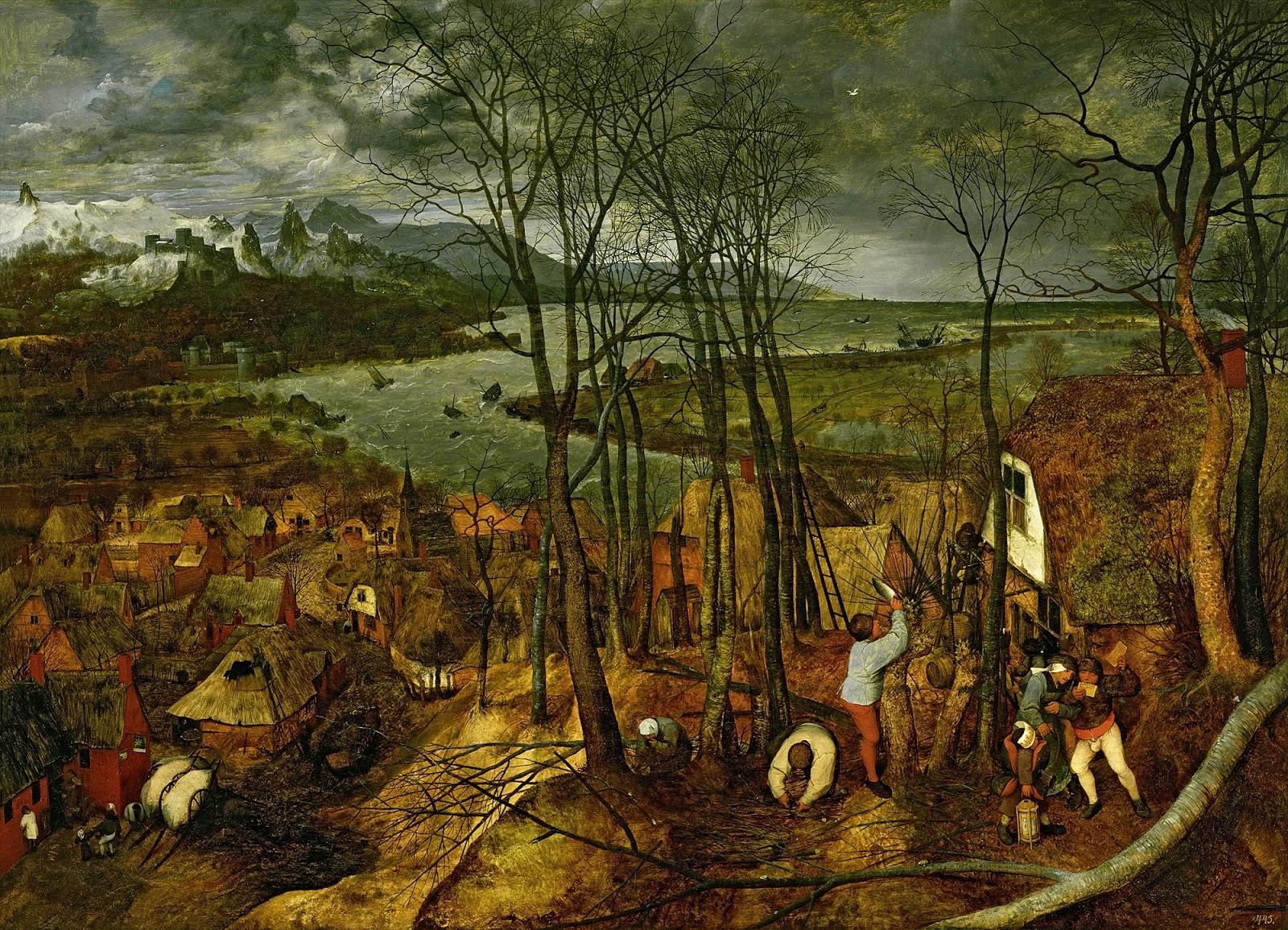ピーテル・ブリューゲルの暗い日(連作月暦画の二月と三月)