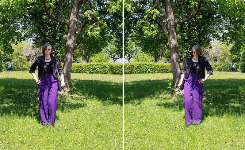 Lila Marlenehose mit Kurzblazer zur Erstkommunion kombiniert
