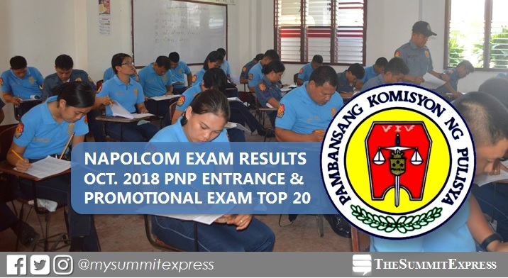 Top 20 Passers: October 2018 NAPOLCOM exam result