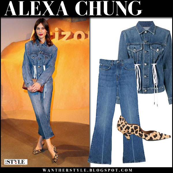 Alexa Chung in denim drawstring jacket, cropped jeans and leopard pumps proenza schouler denim on denim style february 10