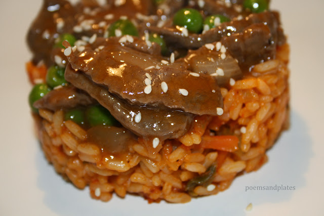 Plum & Ginger Beef Stirfy with Szechaun Rice