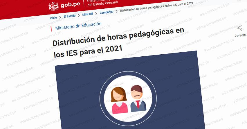 MINEDU: Distribución de horas pedagógicas para el 2021 en los IES