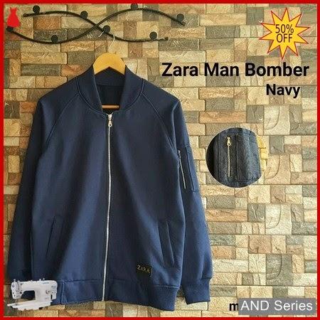 AND074 Jaket Pria Zara Man Bomber Biru BMGShop