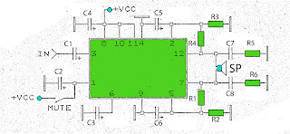 20W amplifier schematic with mute