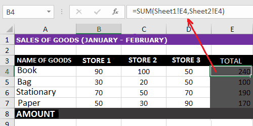 SUM function, the excel formula is as follows: