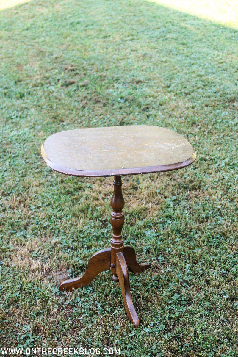 Small table found at the thrift store | On The Creek Blog