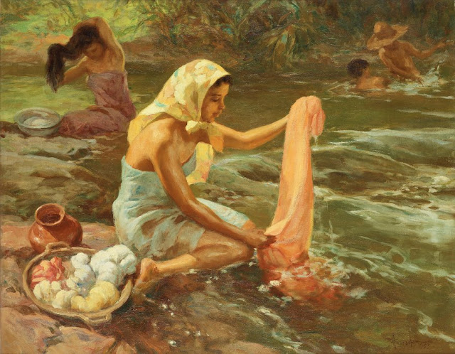 Fernando Amorsolo - Washing scene 1953